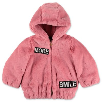 Miss Blumarine pink faux fur bomber jacket with hood