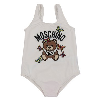 White Teddy Bear logo detail lycra one-piece swimsuit