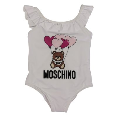White Teddy Bear lycra one-piece swimsuit