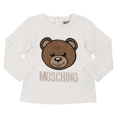 Teddy Bear white crystal details cotton jersey t-shirt