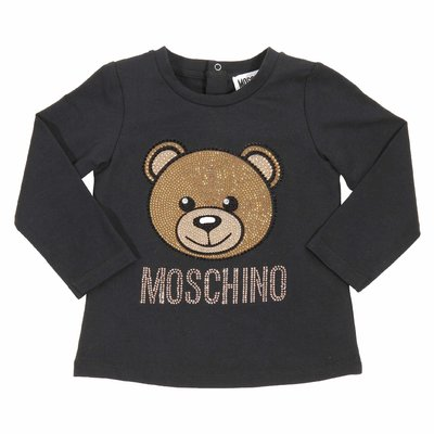 Teddy Bear black crystal details cotton jersey t-shirt