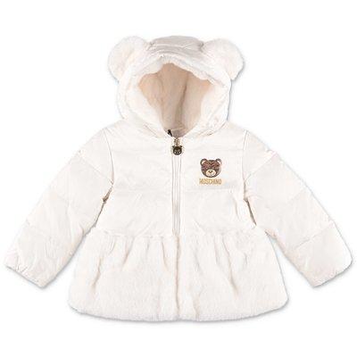 Moschino white nylon down jacket with hood