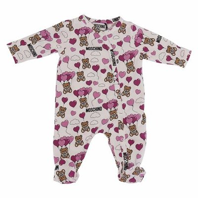 White Teddy Bear print cotton jersey romper