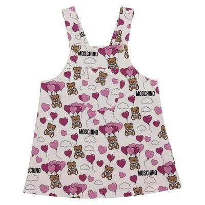 White & pink Teddy Bear cotton dress