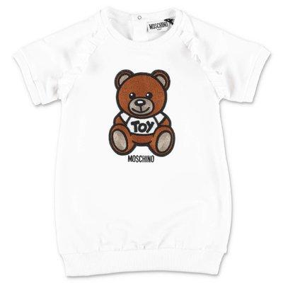 MOSCHINO abito bianco Teddy Bear in jersey di cotone