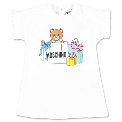 MOSCHINO Teddy Bear white cotton dress