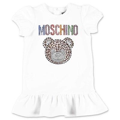 MOSCHINO Teddy Bear white cotton jersey dress