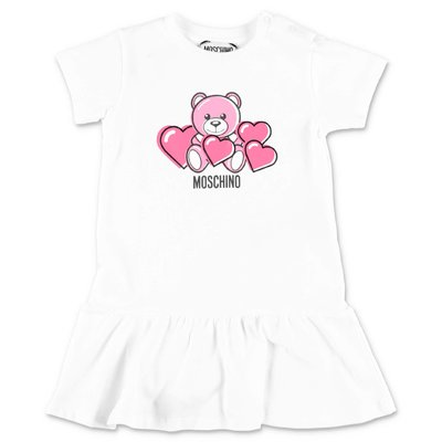 MOSCHINO Teddy Bear white cotton t-shirt dress