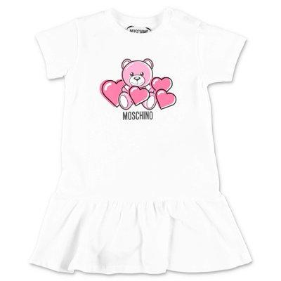 MOSCHINO abito bianco Teddy Bear in felpa di cotone