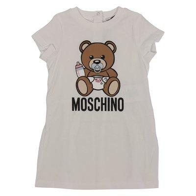 Abito bianco Teddy Bear in jersey di cotone
