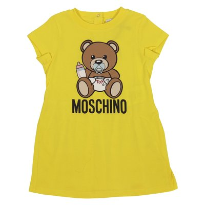 Lemon yellow cotton jersey Teddy Bear dress