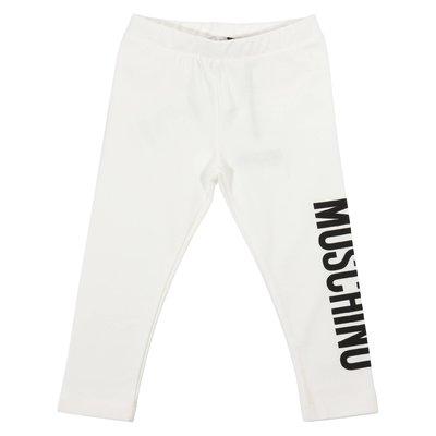 Leggings bianchi in cotone elasticizzato con logo