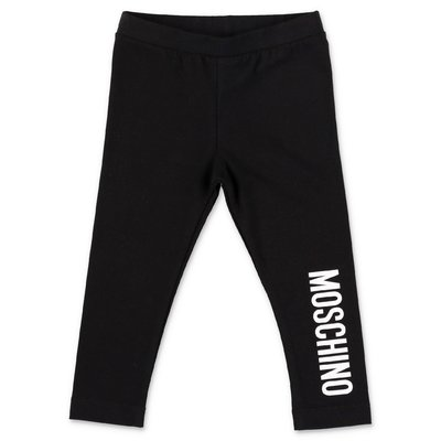 Moschino leggings neri in jersey di cotone stretch