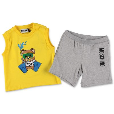 MOSCHINO Teddy Bear cotton jersey set with yellow top & grey shorts