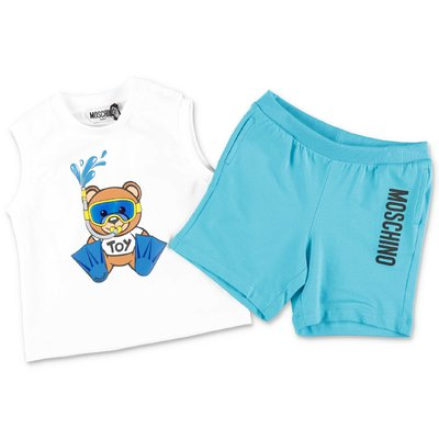 MOSCHINO Teddy Bear cotton jersey set with white top & light blue shorts