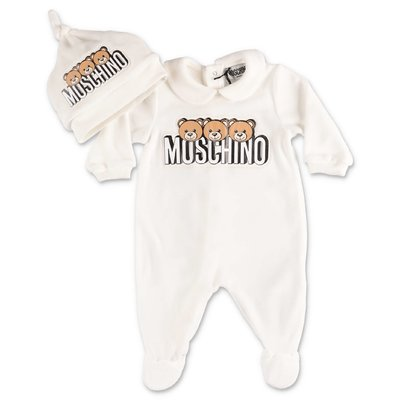 Moschino white cotton chenille romper & melange grey hat set