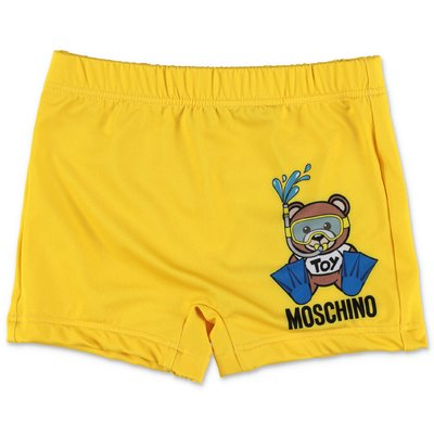 MOSCHINO yellow nylon swim shorts