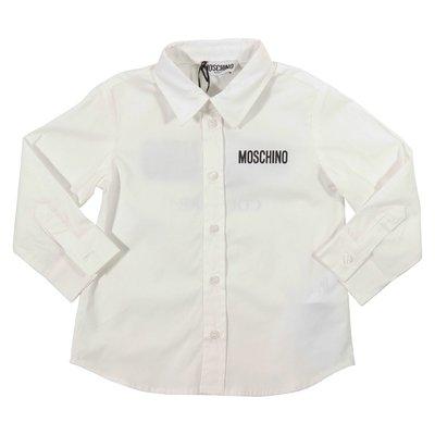 White logo detail cotton poplin shirt