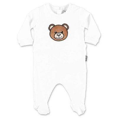 MOSCHINO Teddy Bear white cotton jersey romper