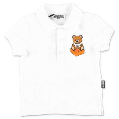 MOSCHINO Teddy Bear white cotton piquet polo shirt