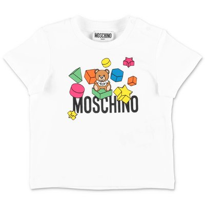 MOSCHINO t-shirt bianca in jersey di cotone