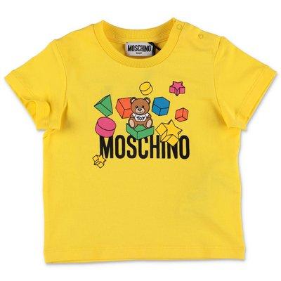 MOSCHINO t-shirt gialla in jersey di cotone