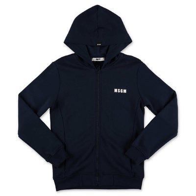 MSGM navy blue cotton hoodie