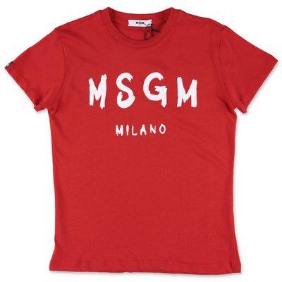 MSGM t-shirt rossa in jersey di cotone