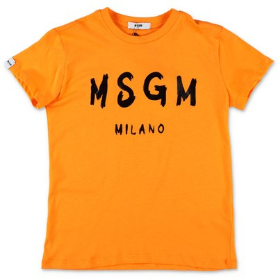 MSGM orange cotton jersey t-shirt