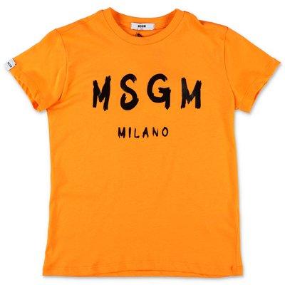 MSGM t-shirt arancio in jersey di cotone