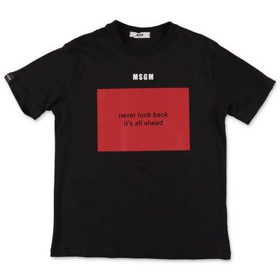 MSGM t-shirt nera in jersey di cotone