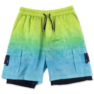 MSGM shorts multicolor effetto sovrapposto