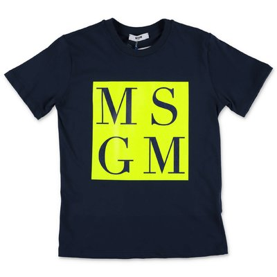 MSGM navy blue cotton jersey t-shirt