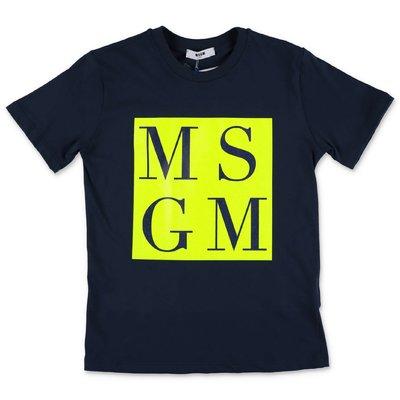 MSGM t-shirt blu navy in jersey di cotone
