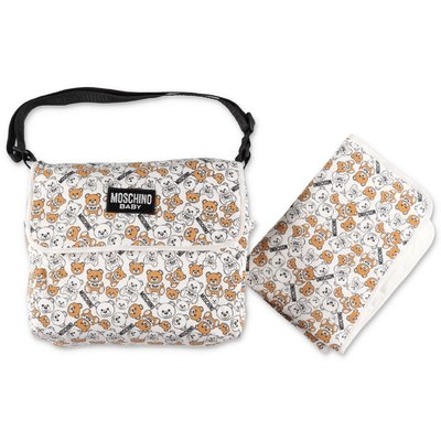 Moschino white logo print cotton changing bag