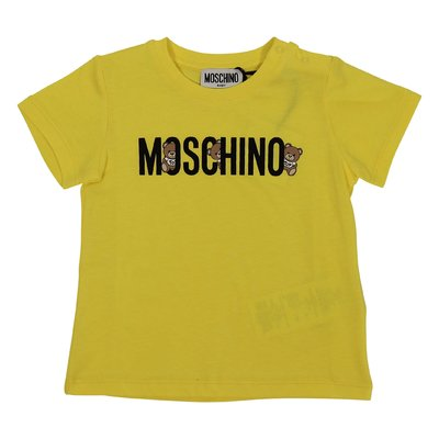 Moschino lemon yellow logo detail cotton jersey t-shirt