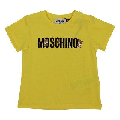 Lemon yellow logo detail cotton jersey t-shirt