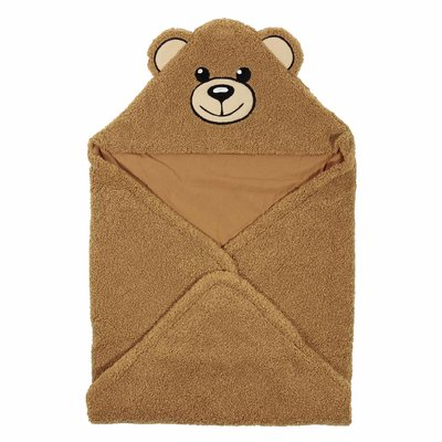 Teddy Bear brown faux shearling hooded blanket