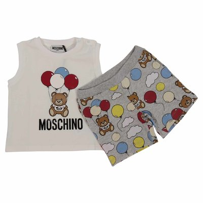 Teddy Bear cotton set with white tank top & melange grey sweatshorts