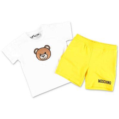 MOSCHINO completo in jersey di cotone con t-shirt bianca e shorts gialli