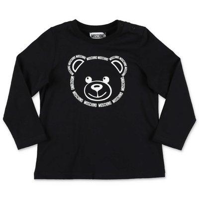 الدب تيدي أسود القطن جيرسي MOSCHINO تي شيرت