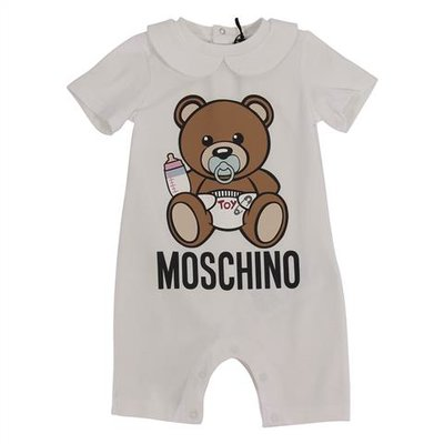 Moschino white cotton jersey Teddy Bear romper