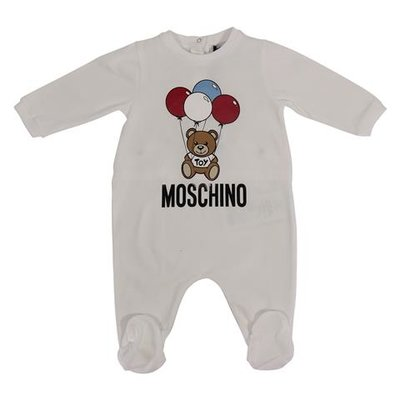 White cotton jersey Teddy Bear romper