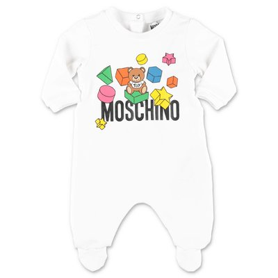 MOSCHINO white cotton jersey romper