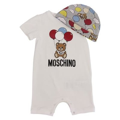 Moschino white Teddy Bear cotton jersey romper with grey printed hat set