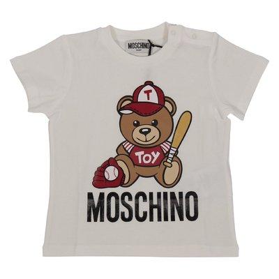 T-shirt bianca Teddy Bear in jersey di cotone