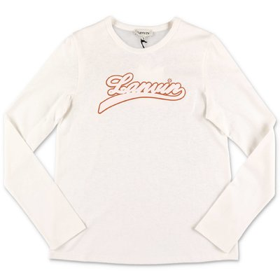 Lanvin white logo detail cotton jersey t-shirt