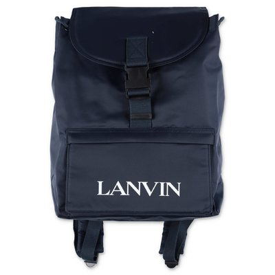 LANVIN navy blue nylon backpack