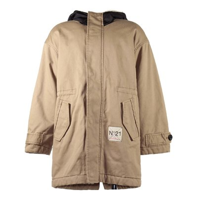 Light brown cotton hooded parka