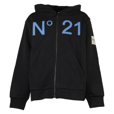 Black cotton zip-up sweatshirt hoodie